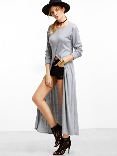 Grey Slit Front Long T-shirt