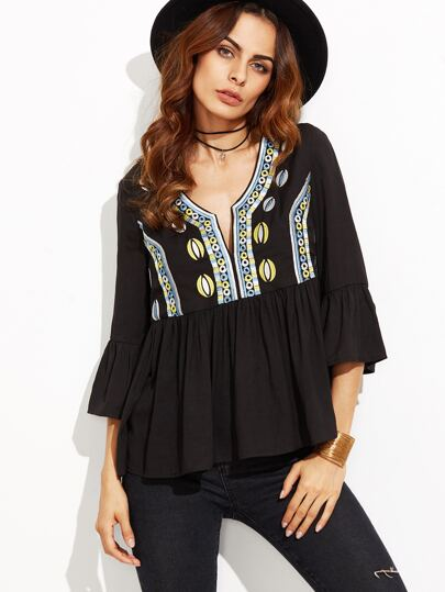 Black Ruffle Sleeve Embroidered Babydoll Top