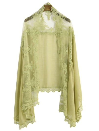Yellow Floral Lace Voile Scarf