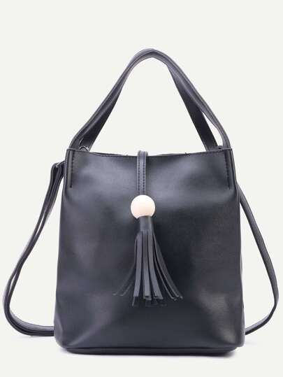 Black PU Tassel Trim Tote Bag With Strap