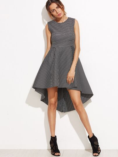 Black Striped High Low Sleeveless A-Line Dress