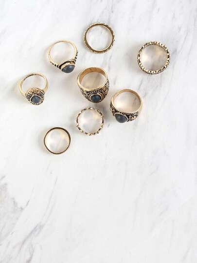 Metallic Faux Stones Ring Set GOLD