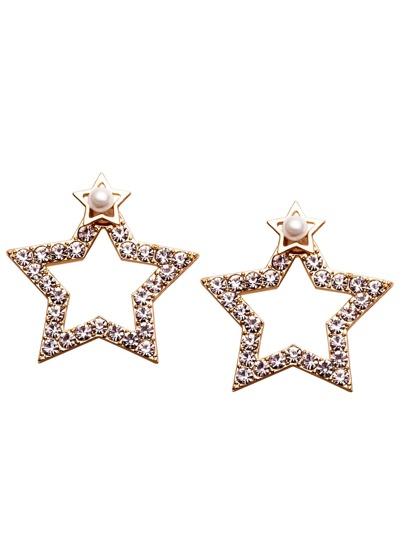 Gold Hollow Star Rhinestone Stud Earrings