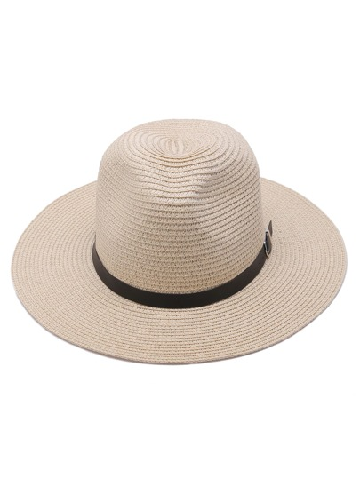 Beige Straw Fedora Hat With Faux Leather Belt