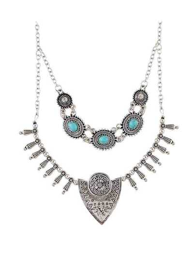 At-Silver Tibetan Style Double Layers Imitation Turquoise Statement Collar Necklace