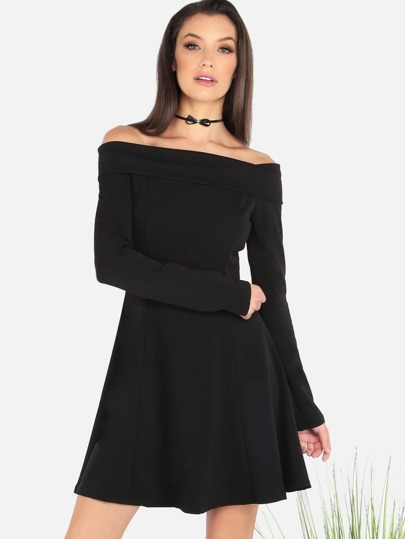Sleeved Open Shoulder Skater Dress BLACK