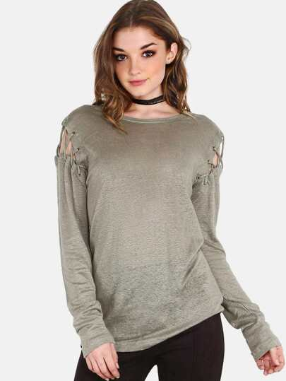Laced Shoulder Sleeved Tunic Top OLIVE