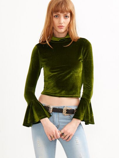 Green Mock Neck Bell Cuff Crop Velvet Top