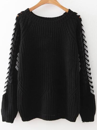 Black Lace Up Sleeve Raglan Sleeve Sweater