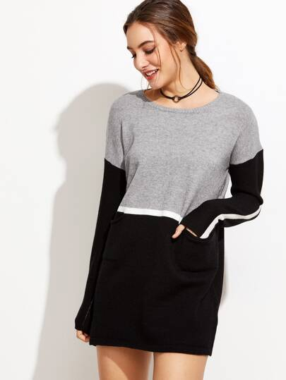 Color Block Drop Shoulder Pockets Sweater Dress
