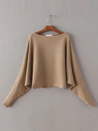 Boat neck Dolman Sleeve Sweater