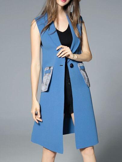 Blue Sleeveless Pockets Print Vest