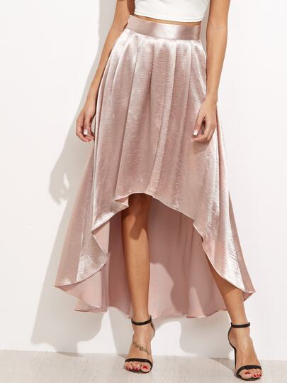 Box Pleated High Low Silky Skirt