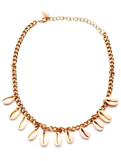 Collier en chaîne avec coquille - doré