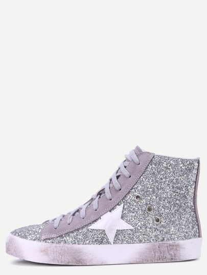 Silber Sequin Round Toe High Top Sneakers