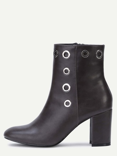 Bottines à talon en cuir PU bout pointu - brun