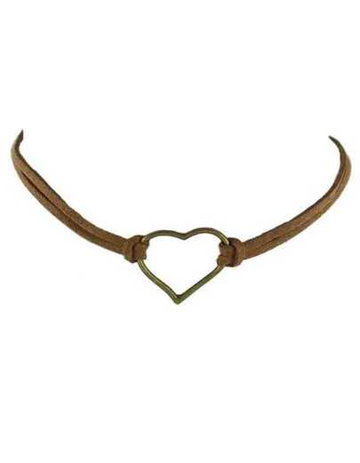 Brown Pu Leather Heart Choker Necklace