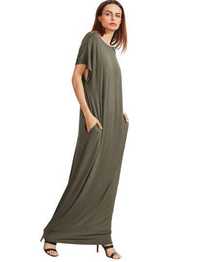 Olive Green Short Sleeve Shift Maxi Dress With Pocket