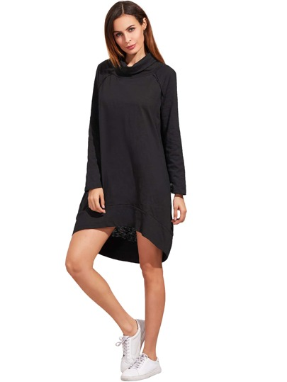 Black Cowl Neck Long Sleeve High Low Dress