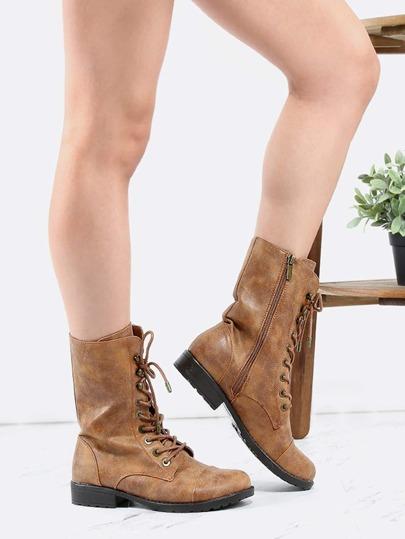 Vintage Inspired Combat Boots CHESTNUT