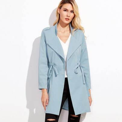 Blue Drawstring Waist Wrap Coat