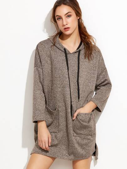 Khaki Hooded Dip Hem Split Sweatshirt Dress With Pockets