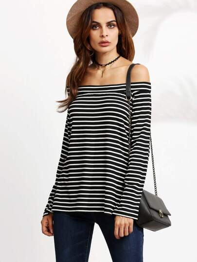 Black And White Striped Off The Shoulder T-shirt
