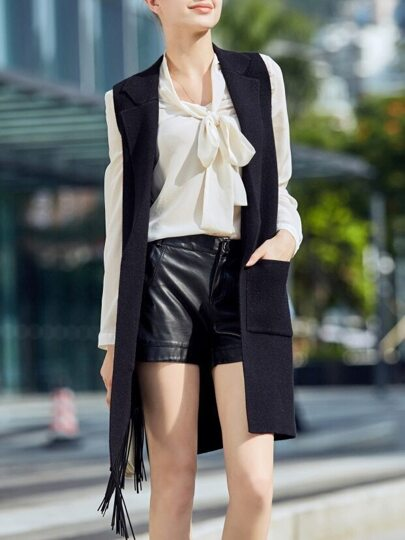 Black Knit Pockets Tassel Cardigan