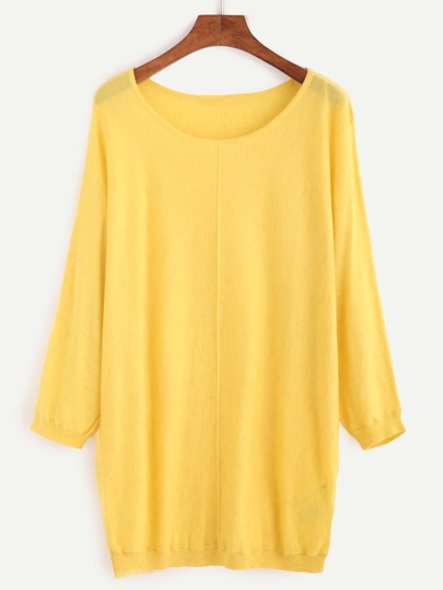 Yellow Scoop Neck Jersey Sweater