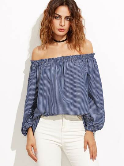 Navy Vertical Striped Off The Shoulder Top