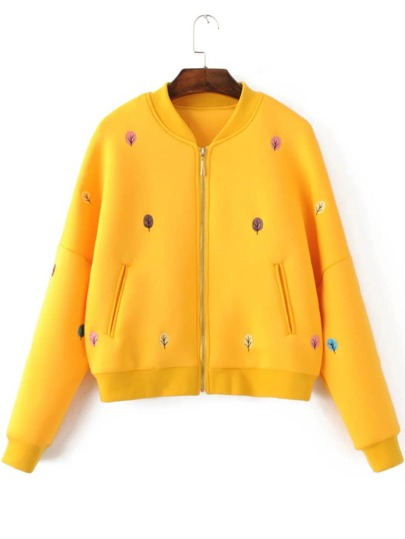 Yellow Tree Embroidery Drop Shoulder Zipper Jacket