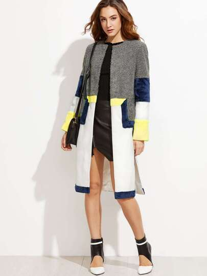 Color Block Mixed Media Side Slit Coat