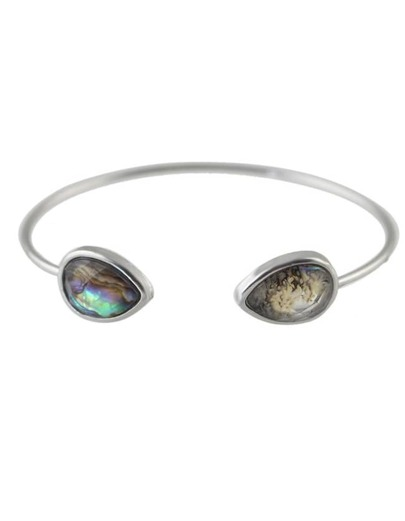 Silver Plated Stone Cuff Bracelet