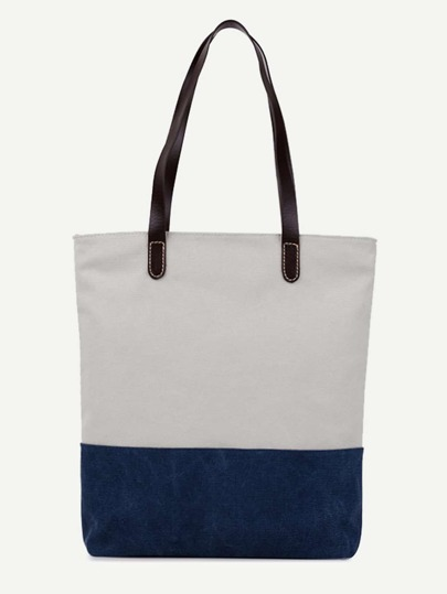 Color Block Canvas Tote Bag