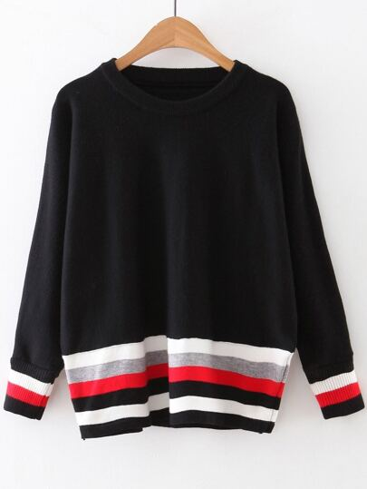 Black Color Block Ribbed Trim Knitwear