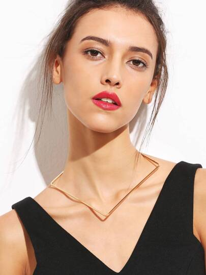 Gold Minimalist Geometric Choker Necklace