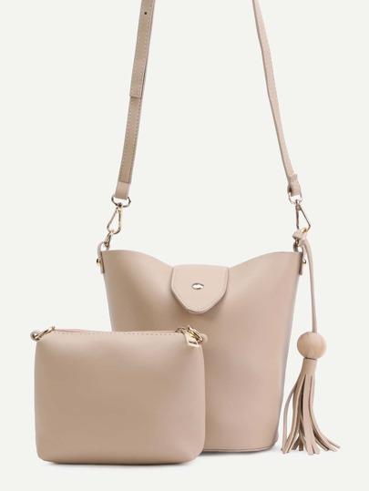Khaki PU Tassel Trim Convertible Shoulder Bag Set