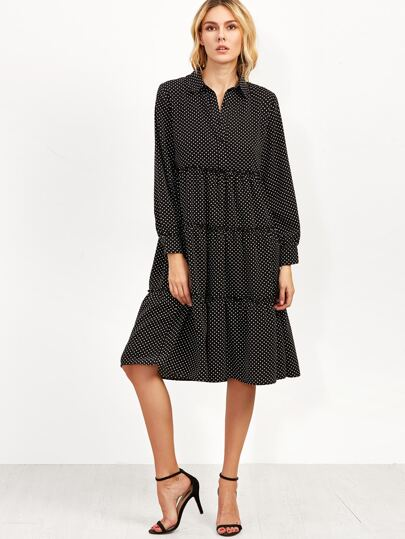 Black Polka Dot Print Tiered Shirt Dress