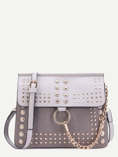 Grey Studded Flap Crossbody Bag