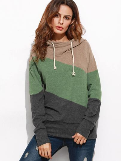 Color Block Raglan Sleeve Hooded Sweatshirt