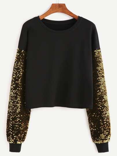 Sweatshirt Drop Schulter Stickereien Paillette -schwarz
