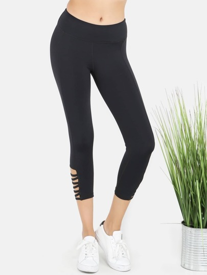 Active Yoga Cropped Bar Strap Leggings BLACK
