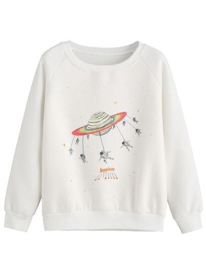 Beige Cartoon Print Raglan Sleeve Sweatshirt