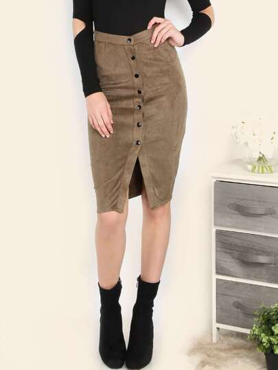 Brown Faux Suede Button Front Pencil Skirt