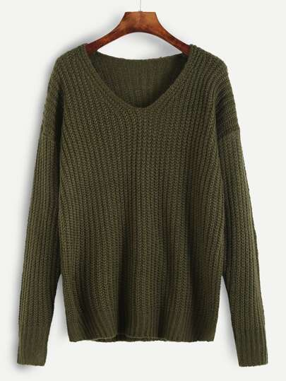 Olive Green Ribbed Knit Drop Shoulder Sweater