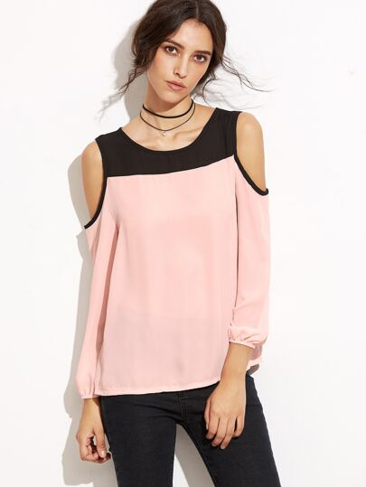 Color Block Open Shoulder Keyhole Back Chiffon Top