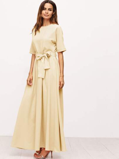 Apricot Tie Front Detail Maxi Dress