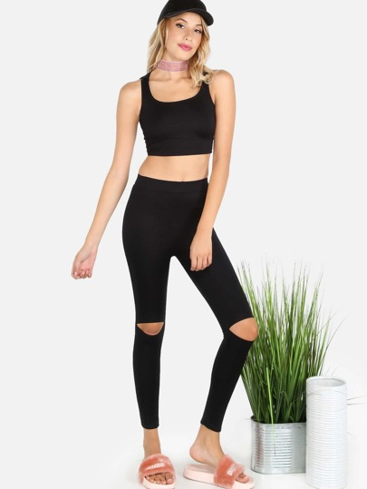 Hooded Crop Top & Knee Cut Out Jersey Leggings BLACK