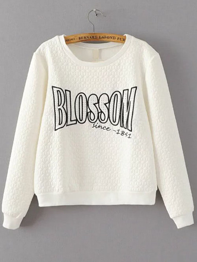 White Letter Embroidery Textured Sweatshirt