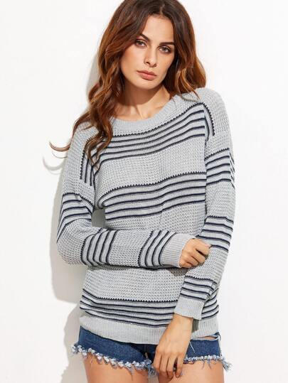 Grey Striped Drop Shoulder Seam Sweater